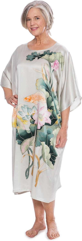 TexereSilk Women's 100% Silk Kimono Caftan  Hand Painted Gifts (goldfish)