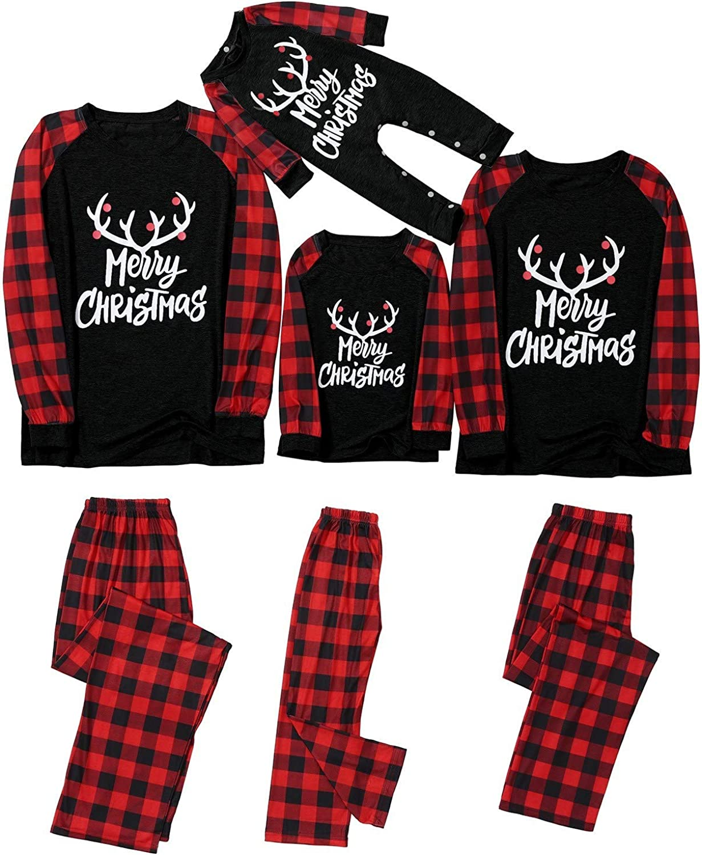 Matching Family Pajamas Sets Christmas PJs Sleepwear Merry Christmas Reindeer Top and Plaid Pants Cotton
