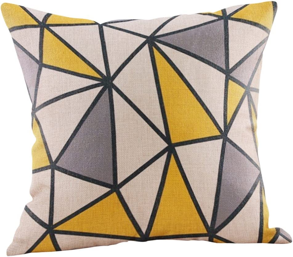 Momoxi Home Cotton Linen Throw Pillow Case Cushion Cover Square Mustard Cushion Cover Yellow Geometric Fall Autumn Cushion Cover Home Decorative For Living Room Car Office Couch Bed 45x45cm Amazon Co Uk Kitchen