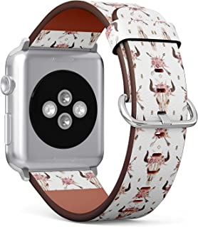 (Watercolor Boho Pattern of Arrows, Bull Skull with Horns) Patterned Leather Wristband Strap for Apple Watch Series 4/3/2/1 gen,Replacement for iWatch 38mm / 40mm Bands