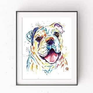 Colorful Bulldog Watercolor Painting by Lisa Whitehouse| Wall Art, Bulldog Gifts, Bulldog - Art With More Color