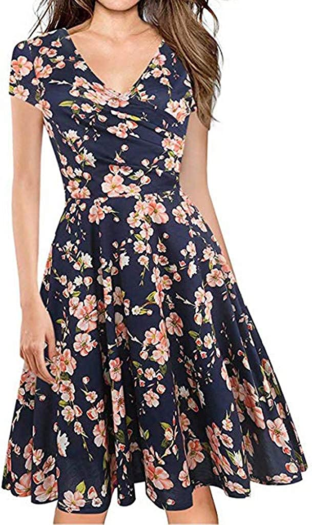 Women's A-Line Mini Tulsa Mall Skirt V-Neck Max 53% OFF Dresses Ruched Printed Pleated