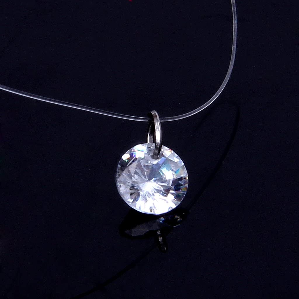 Xuniu Collar de Mujer l/ínea de Pesca Transparente Gargantilla Invisible de circonia c/úbica