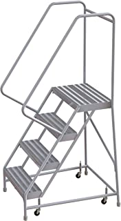 Tri-Arc WLAR104244 4-Step All-Welded Aluminum Rolling Industrial & Warehouse Ladder with Handrail, Solid Ribbed Tread, 24-Inch Wide Steps
