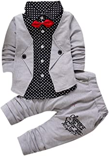 Boy Gentry Clothes Set for 1-4 Years Old,Kid Baby Toddler Boys Formal Party Christening Wedding Tuxedo Bow Suit