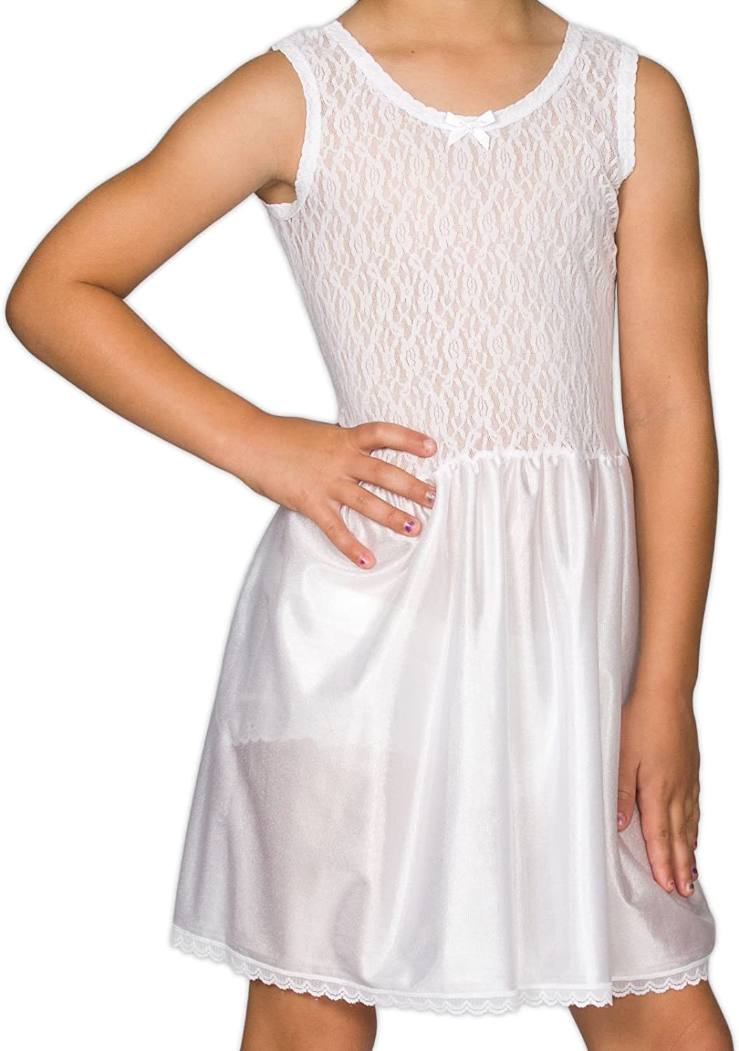 I.C. Collections Little Girls White Stretch Lace Slip, 2T - 6X