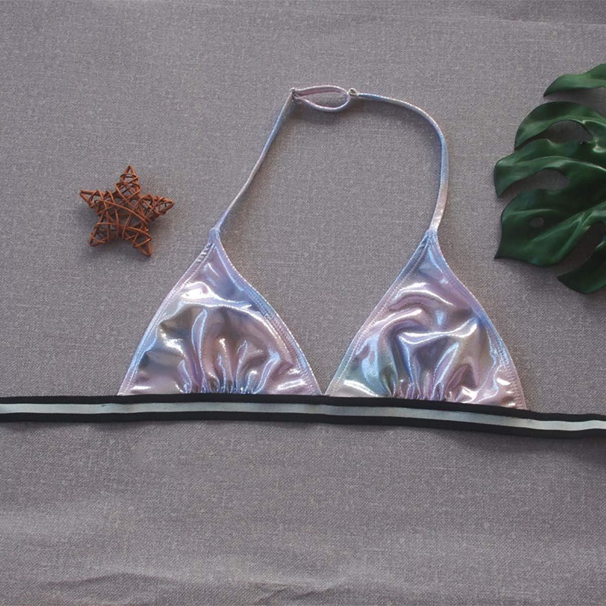 Freebily Costume da Bagno Ragazza Due Pezzi Bikini Bambina Mare Reggisno Triangolo Halter Collo Mutandine da Piscina Colore Sfumato Swimsuit Abitino da Mare Beachwear