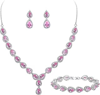 Women's Wedding Bridal Teardrop CZ Infinity Figure 8 Y-Necklace Tennis Bracelet Dangle Earrings Set