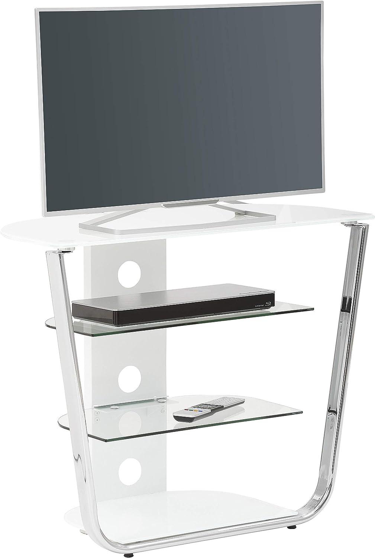 Vetro Bianco 80,9 x 67,1 x 40,0 cm Metallo Cromato MAJA M/öbel Media MODELLE Glas Supporto TV e Hi-Fi