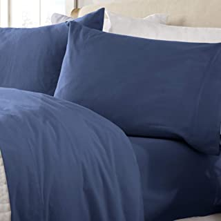 Great Bay Home Extra Soft 100% Turkish Cotton Flannel Sheet Set. Warm, Cozy, Lightweight, Luxury Winter Bed Sheets in Solid Colors. Nordic Collection (Queen, Navy)
