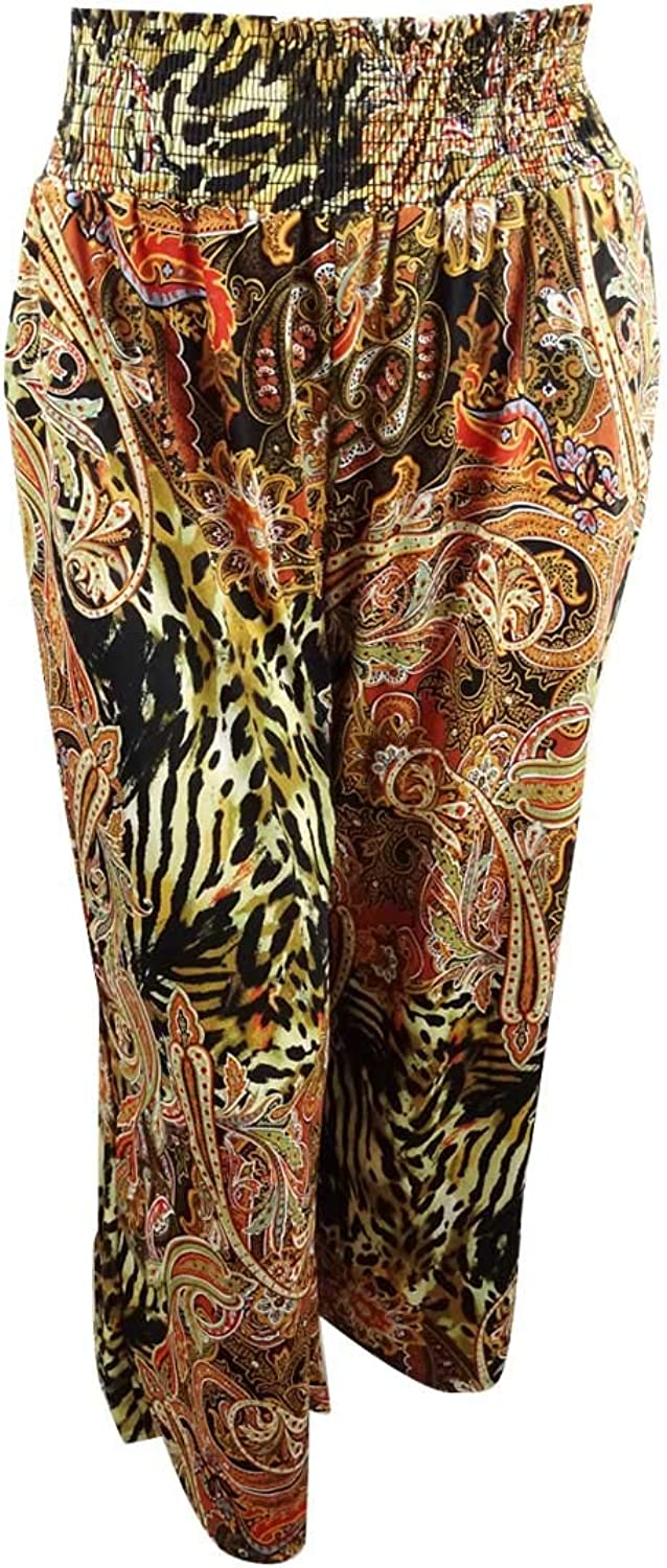 NY Collection Womens Plus Printed High Rise Wide Leg Pants