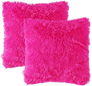 MIULEE Pack of 2 Luxury Faux Fur Throw Pillow Cover Deluxe Decorative Plush Pillow Case Cushion Cover Shell for Sofa Bedroom Car 18 x 18 Inch Hot Pink