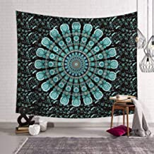 Vic Gray Indian Mandala Tapestries Elephant Printed Polyester Picnic Bedsheet Blanket Hippie Art Wall Cloth,200x150cm