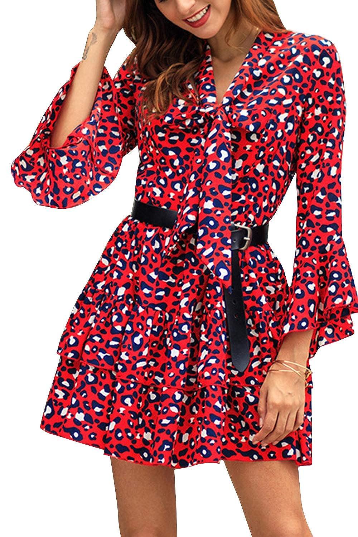 女性カジュアルドレスレオパードプリントVネックロングスリーブラインショートドレス
