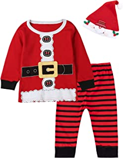 3PCS Baby Boys Girls Christmas Santa Claus Costume Pajama Outfit Clothes Set
