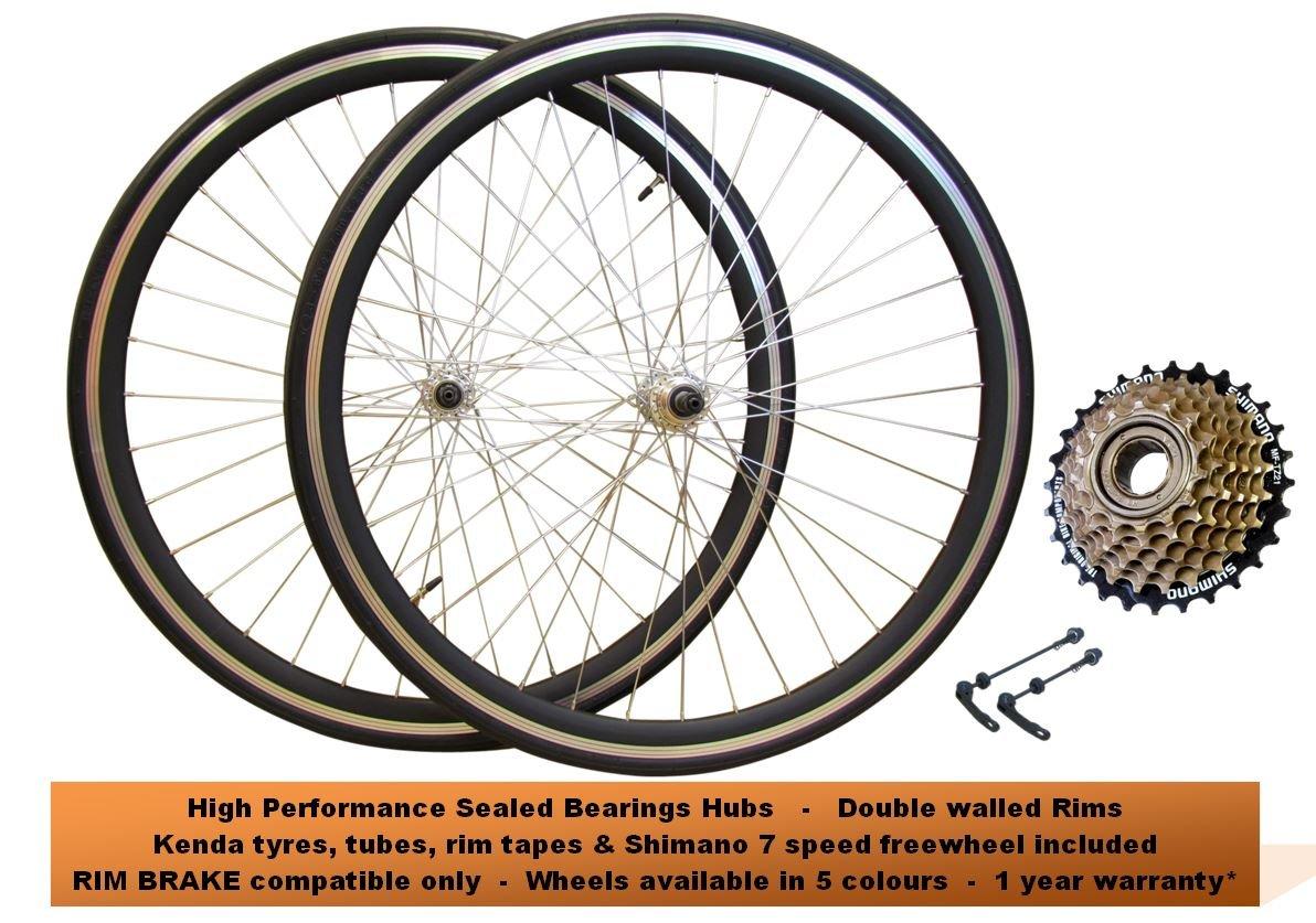 Juego de ruedas delanteras y traseras para bicicleta de carretera QR 700c, 7 velocidades Shimano Kenda