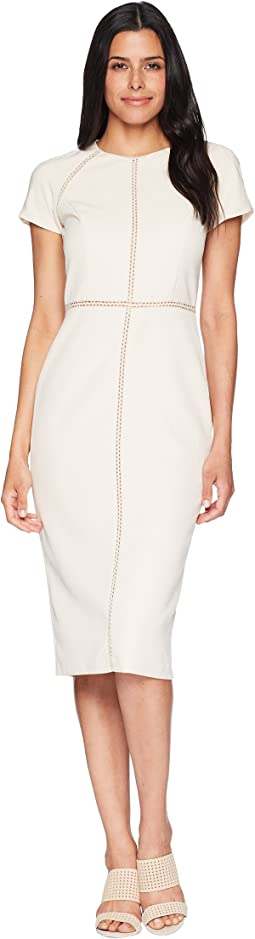 Dream Crepe Jewel Neck Sheath with Faggoting Trim