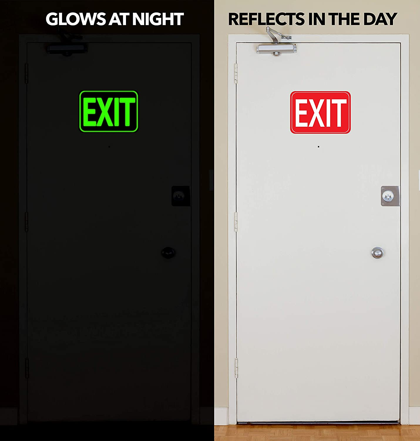 Aluminum Photoluminescent EXIT Sign Glows for Up to 10 Hours Ultra Reflective and Well Lit Aluminum