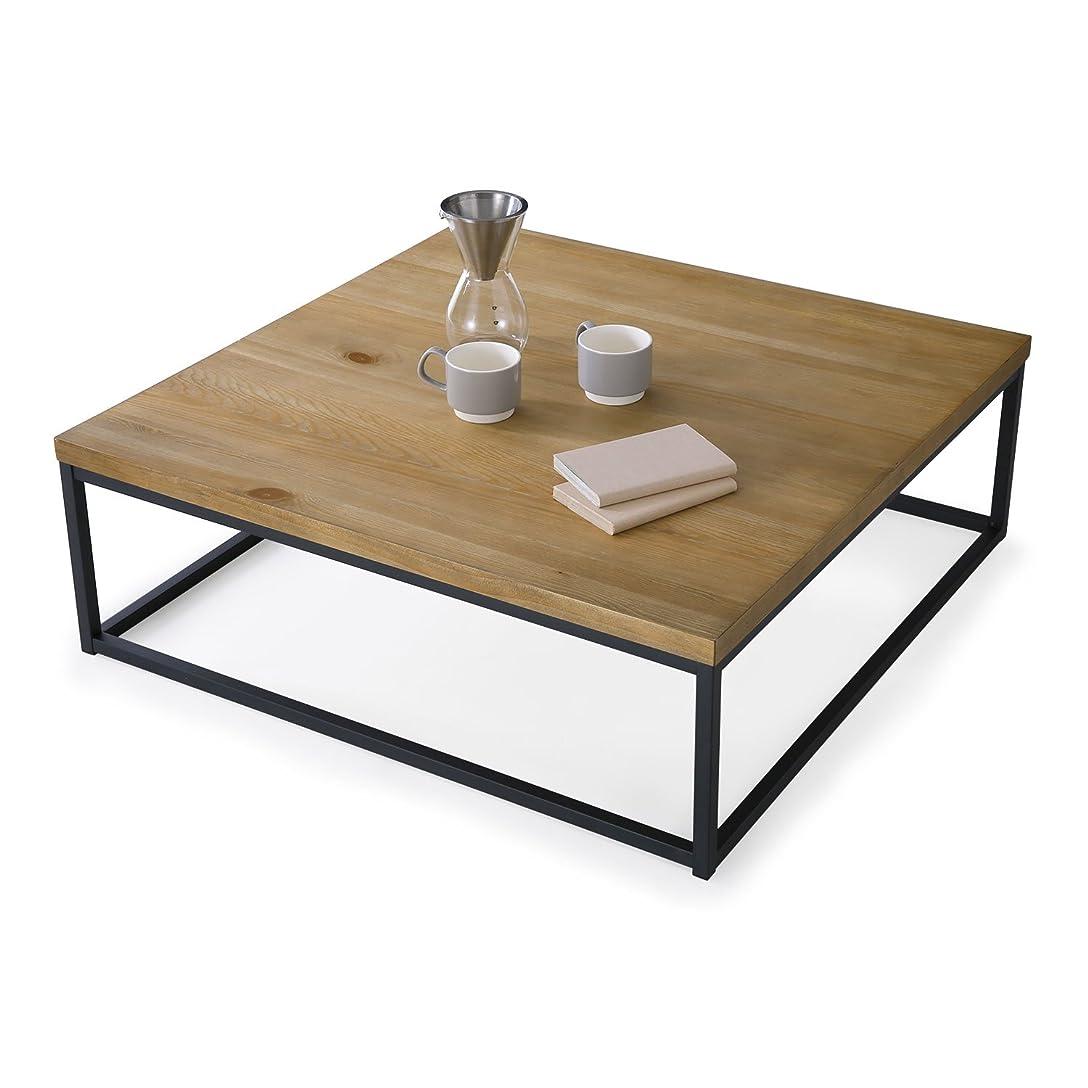 利用可能ひねり行進LOWYA テーブル ローテーブル パイン材 突板 スチール脚 センターテーブル コーヒーテーブル 正方形 ナチュラル おしゃれ 新生活