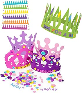 12 Princess Foam Tiara Craft Kits + 12 Prince King Foam Crown Craft Kits - Great fun for kids birthday party., Pink, 1 Pack
