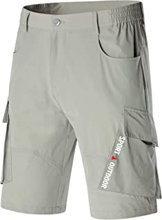 MAGCOMSEN Men's Hiking Shorts Elastic-Waist Lightweight Quick Dry Outdoor Cargo Shorts with 5 Pockets