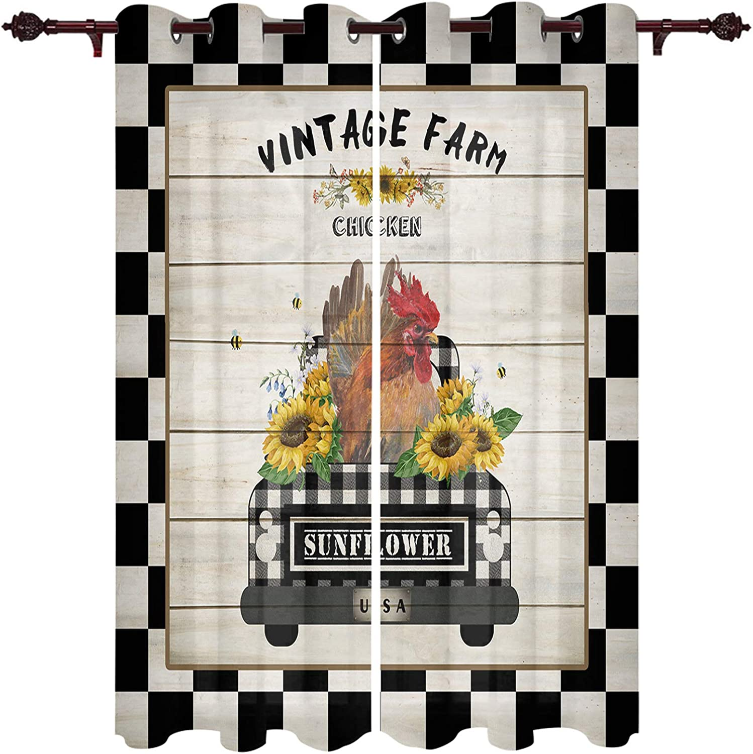 Grommet Curtain Panel security Treatment Sunflower Easy-to-use Chicken Vintage Farm