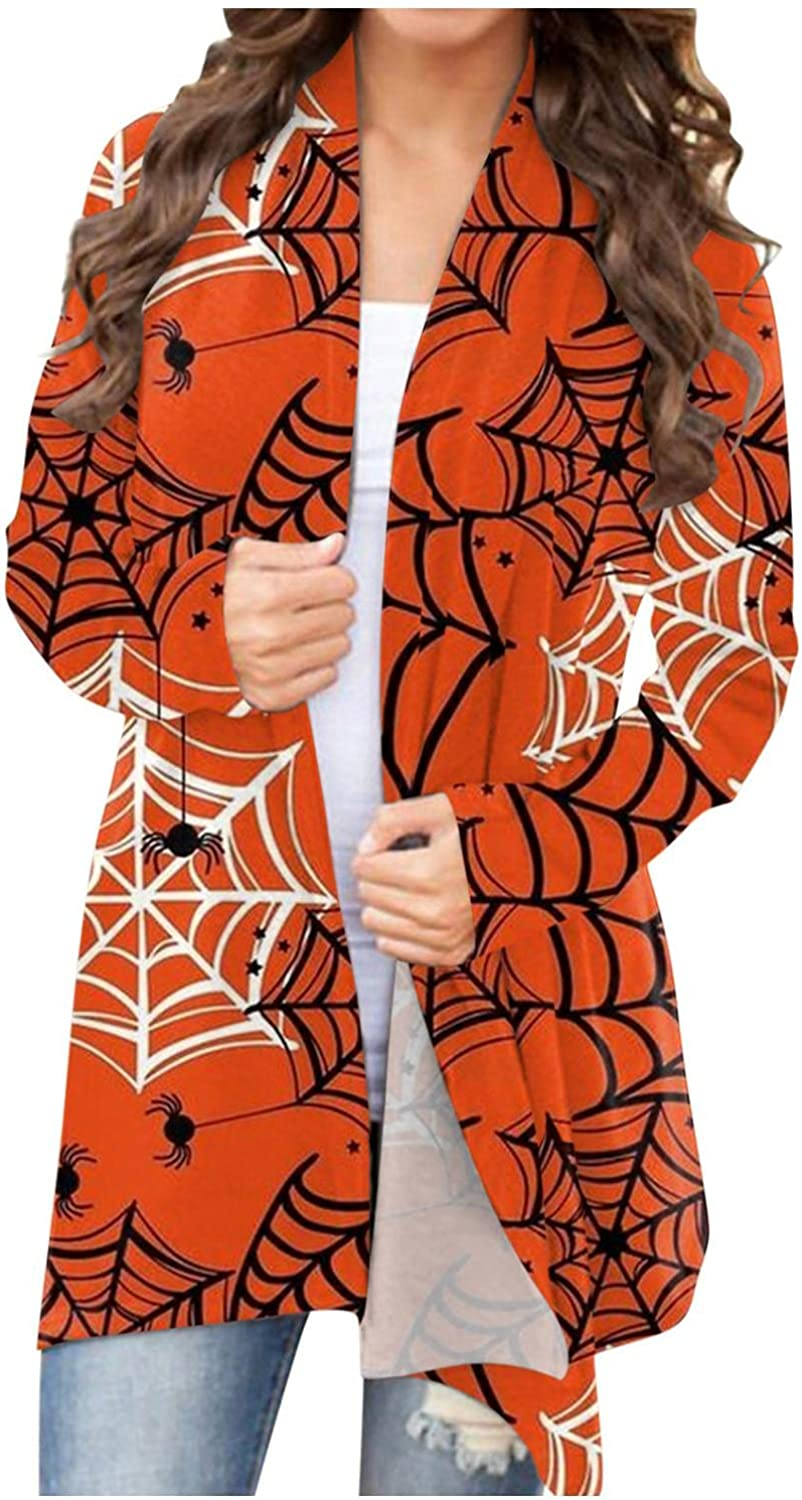 Halloween Women Cardigan.Casual Sweater Animal Cat Bat Funny Cute Graphic Crew Neck Loose Fit Pullover Hoodies