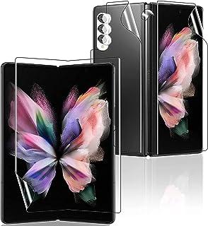 [5 قطع] واقي شاشة لهاتف Samsung Z Fold 3 ، غشاء TPU ناعم رفيع للغاية لهاتف Galaxy Z Fold 3 يتضمن 1 أمامي + 1 خلفي + 1 داخل...
