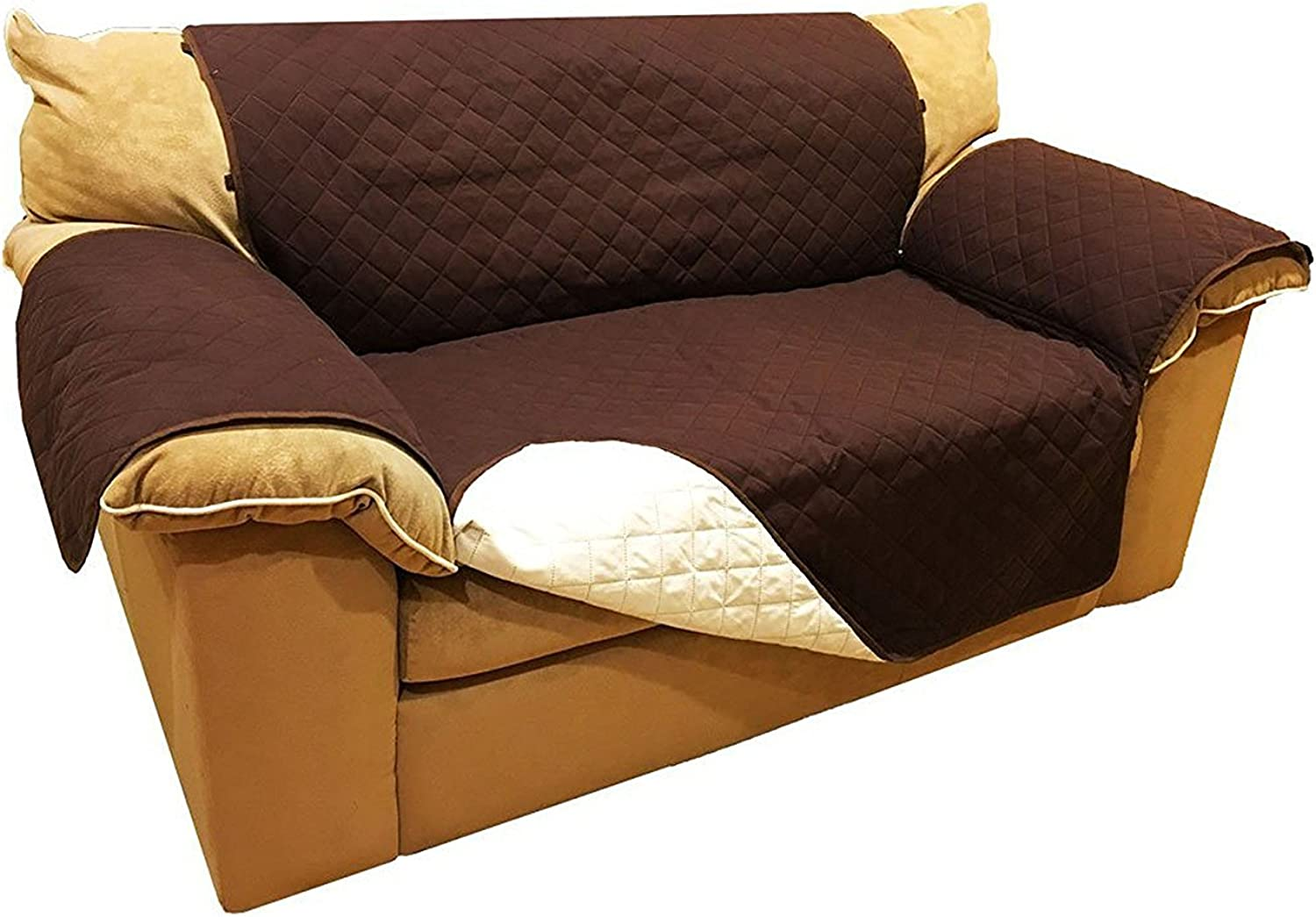 Aleko PSC02BRUNB 88 x 70 in.Pet   Seat Slipperd Spill Scratch Pet Fur Protection Cover for Mobilture, Brown