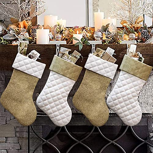 Ivenf Christmas Stockings, 4 Pcs 18 inches Burlap Cotton Quilted Thick Luxury Stockings, for Family Holiday Xmas Part...