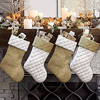 Ivenf Christmas Stockings, 4 Pcs 18 inches Burlap Cotton Quilted Thick Luxury Stockings, for Family Holiday Xmas Party Decorations