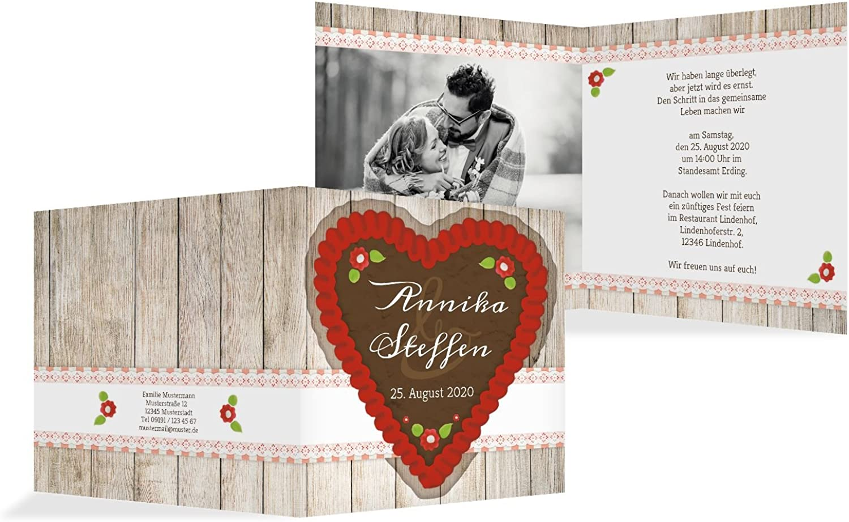 Hochzeit Einladung München, 20 Karten, Rot B07B6RSLBS | eine breite breite breite Palette von Produkten  1a7085