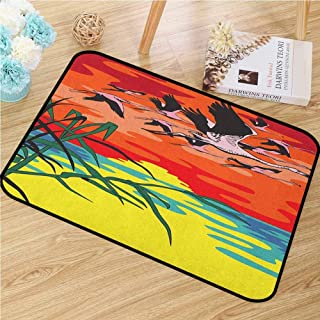 GUUVOR Flamingo Inlet Outdoor Door mat Flamingos Flying in The Air with Horizon Landscape Illustration Savannah Artwork Catch dust Snow and mud W23.6 x L35.4 Inch Multicolor