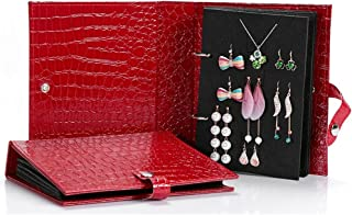 UnionPlus Croco Faux Leather Travel Folding 4-Page 48 Pair /20Pair Earring Ear Stud Jewelry Storage Book Box Organizer (Large, Red)