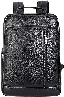 Dengyujiaasj Backpack, Leather Shoulder Bag Male Computer Bag Backpack Leather Men Travel Bag Casual Business (Color : Black)