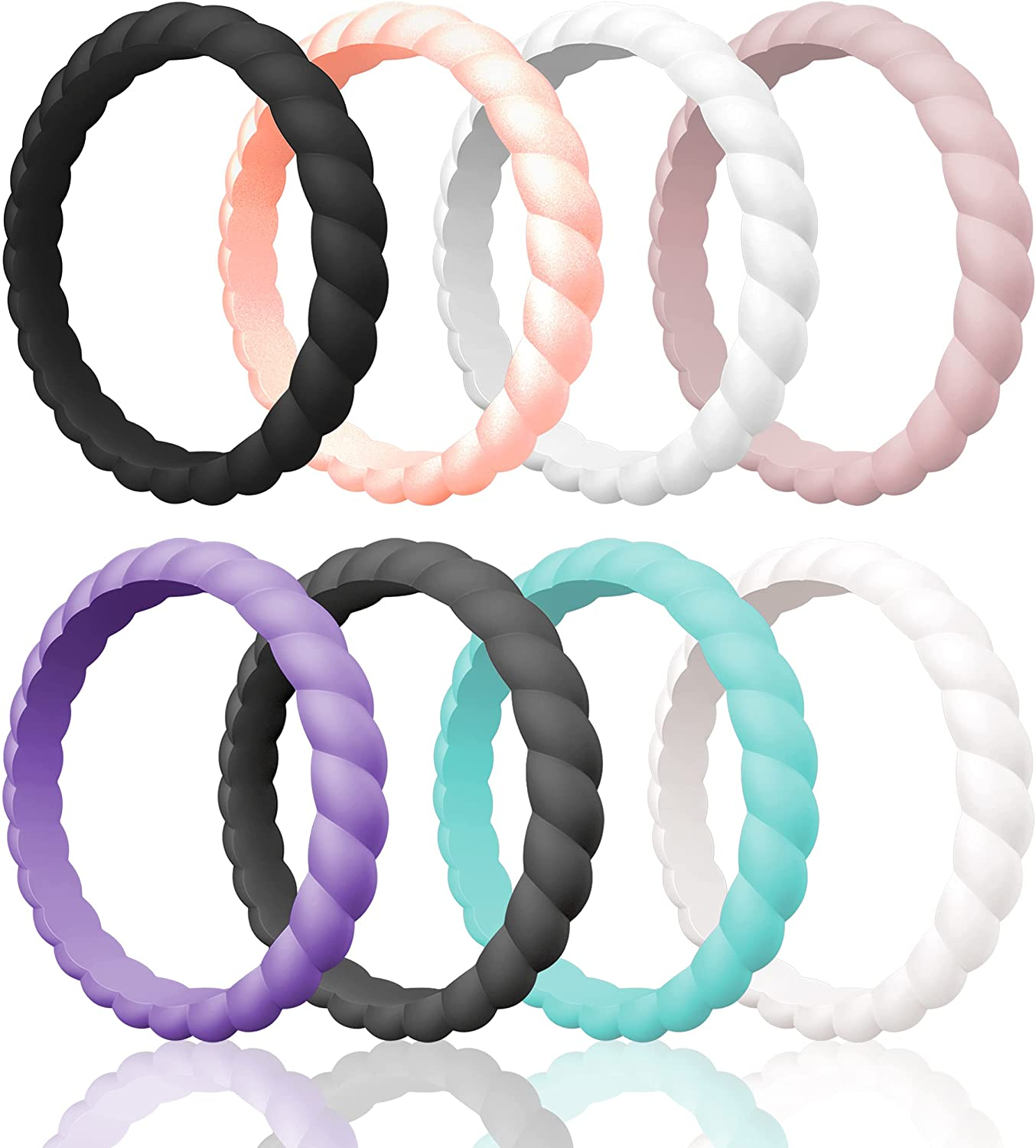 ThunderFit Thin Braided Silicone Wedding Rings for Women