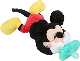 Bright Starts Disney Baby Cozy Coo Soothing BPA-Free Pacifier with Plush Toy - Mickey Mouse, Ages Newborn +