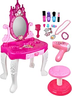 Kiddie Play Pretend Play Kids Vanity Table and صندلی زیبایی بازی کودکان با لوازم جانبی مد و آرایش دخترانه
