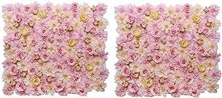 2pcs Silk Flower Wall Panel Wedding Venue Main Road Decor Pink Champagne