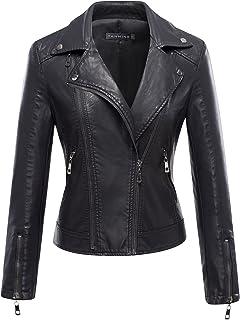 Women's Faux Leather Moto Biker Short Coat Jacket