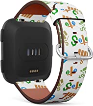 Compatible with Fitbit Versa/Versa 2 / Versa LITE - Quick Release Leather Wristband Bracelet Replacement Accessory Band - Business Chart Glyphable