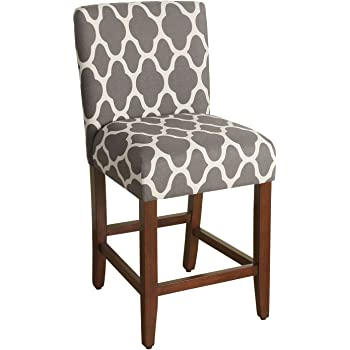 HomePop Upholstered Counter Height Barstool, 24-inch, Grey and Cream Geometric