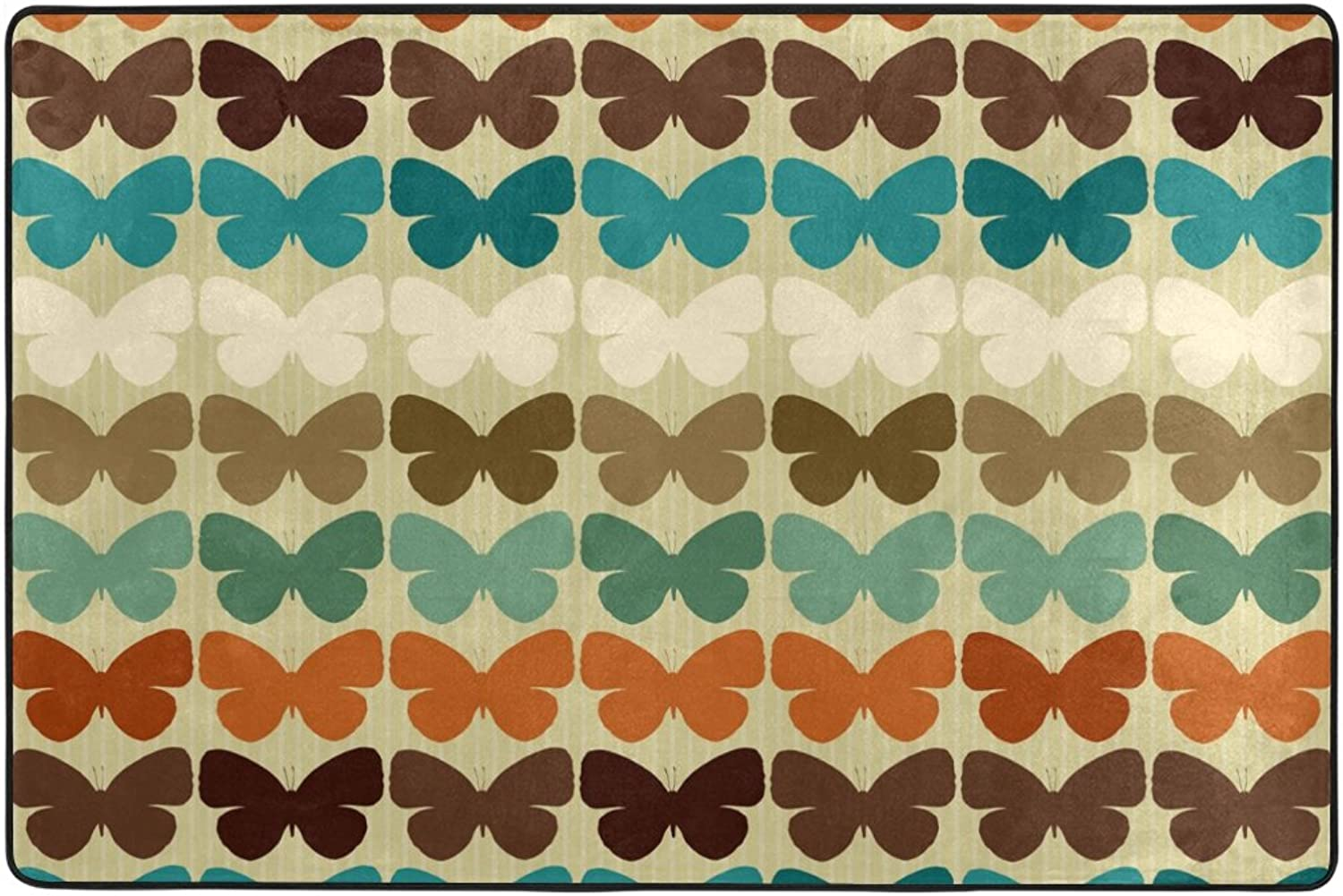 Hengpai Butterflies in Restro Style Print Area Rugs Skid Resistance Polyester Floor Mats Living Room Size 36 x 24 inch