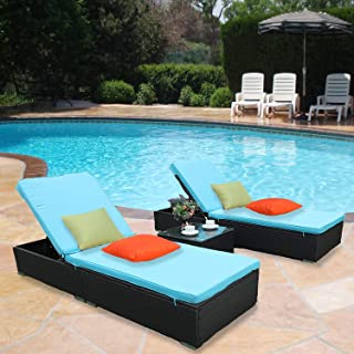 HTTH Rattan Chaise Lounge Chair Conversation Set for Outdoor Patio,Blue BackyardFurniture