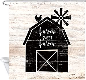 Farm Chicken Sweet Farm Home Shower Curtains, Country Farmhouse Animals Rooster on Vintage Shabby Chic Barn with Windmill on Rustic Wooden Fabric Shower Curtain, Wood Bathroom Accessory Sets, 70in