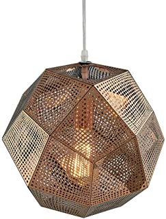 Vintage Mesh Pendant Light Stainless Steel Shadow Multi-Faceted(Rose Gold 18cm)