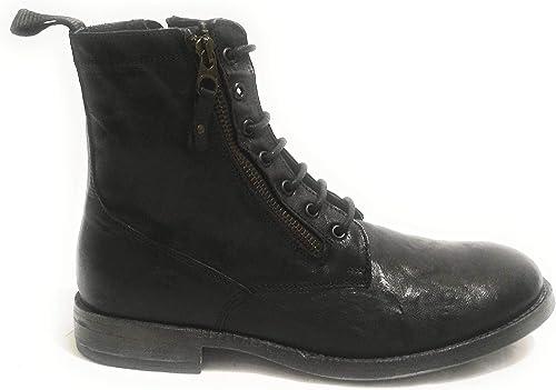 ANTICA CUOIERIA - botas de Cuero para Hombre negro negro