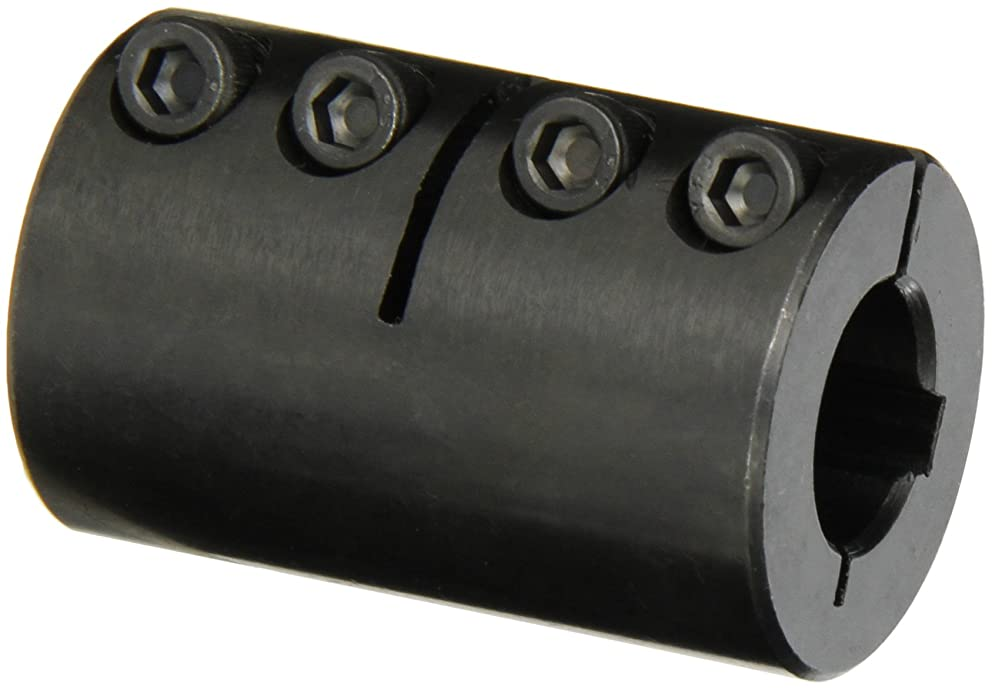 Climax Part ISCC-062-062-KW Mild Steel, Black Oxide Plating Clamping Coupling, 5/8 inch X 5/8 inch bore, 1 5/16 inch OD, 2 inch Length, 10-32 x 1/2 Clamp Screw