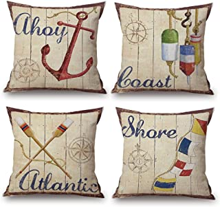 ULOVE LOVE YOURSELF Coastal Throw Pillow Covers 4pack Sea Theme Nautical Cotton Linen Beach Cushion Cover 18 X 18 Inch (Sea-5)