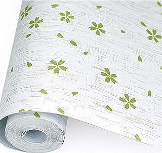 kumaleaf 壁紙 はがせるDIY壁紙シール 花柄 ウォールステッカー インテリア グリーン 60cm×10m